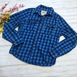 Hollister Blue Plaid Button Up Flannel Top Shirt